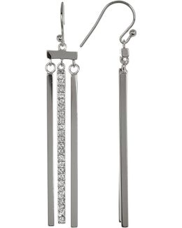 Triple Bar Pave Middle Dangling Earrings