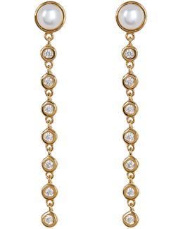 Mother Of Pearl Stud Linear Cz Drop Earrings