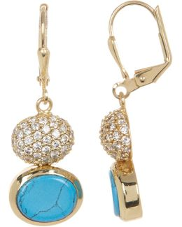 Crystal Accented Double Drop Earrings