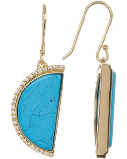 Turquoise Half Moon Drop Earrings