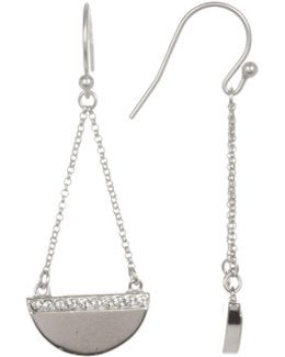 Accented Half Disk Chain Drop Earrings