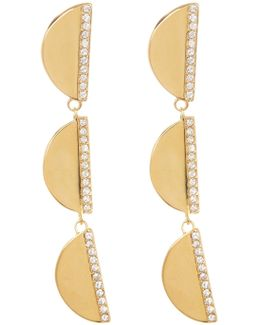 Crystal Accented Tiered Half Moon Drop Earrings