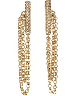 Textured Bar & Chain Drop Earrings