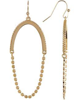 Beaded Open Oval Drop Earrings