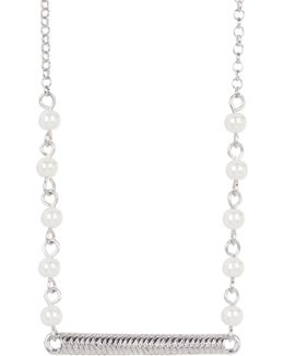 Glass Pearl Station Necklace