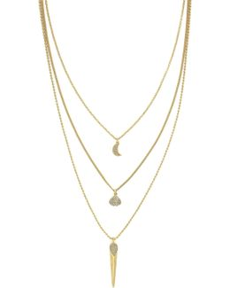 12k Gold Plated Triple Layer Pave Necklace