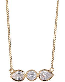 Cz Teardrop & Round Bar Pendant Necklace