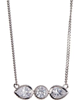 Cz Round & Teardrop Bar Pendant Necklace