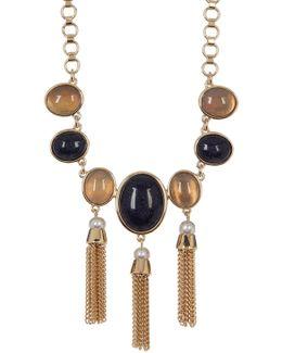 Multi-stone, Freshwater Pearl & Fringe Link Necklace