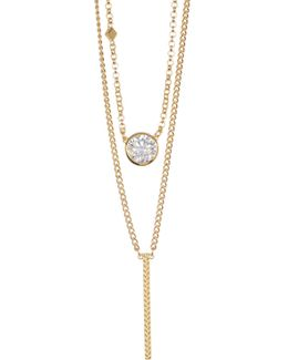 Bezel Set Crystal & Chevron Etched Bar Double Layered Necklace