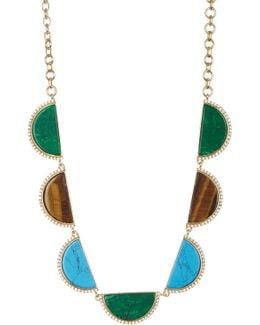 Crystal Accented Pendant Collar Necklace