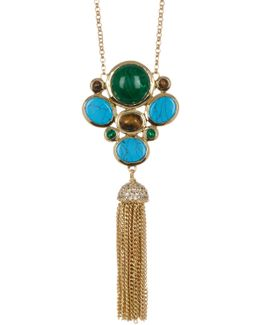 Bezel Set Cluster & Tassel Drop Necklace