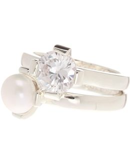 Freshwater Pearl & Cz Stack Ring Set - Size 7