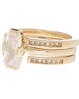Cz Embellished Ring Set - Size 7
