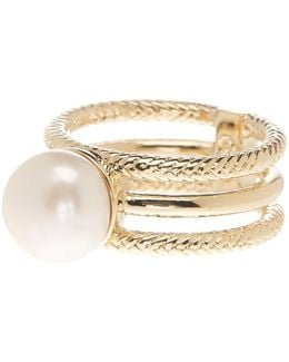 Textured Cutout Freshwater Pearl Ring - Size 7