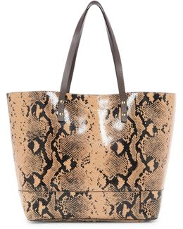 Beckett Snake Print Embossed Leather Tote