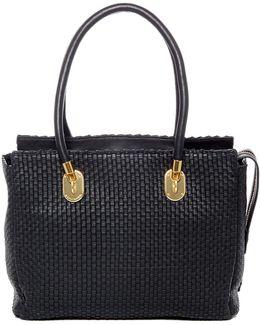 Benson Ii Woven Leather Work Tote Bag