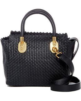 Benson Ii Small Woven Leather Tote Bag