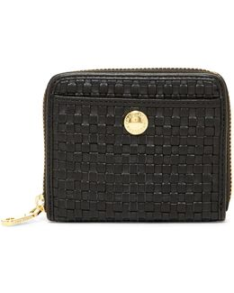 Benson Ii Woven Leather Zip Around Wallet