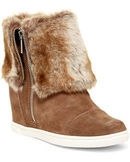 City Street Faux Fur Lined Wedge Bootie