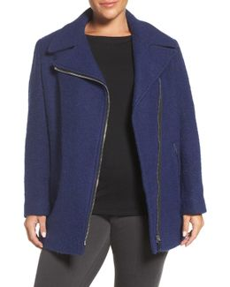 Asymmetrical Wool Blend Coat (plus Size)