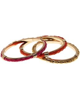 12k Gold Braided Bangle Set - Set Of 3