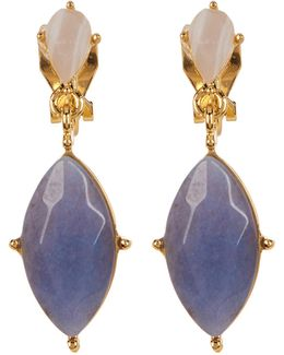 12k Double Drop Marquise Earrings