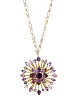 Large Embellished Flower Pendant Long Necklace