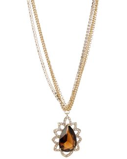 Pave Bezel Teardrop Pendant Necklace