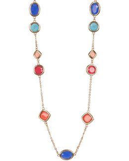 12k Gold Multi-color Stone Station Necklace