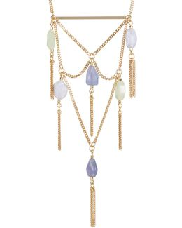 12k Gold Stone Tassel Bib Necklace