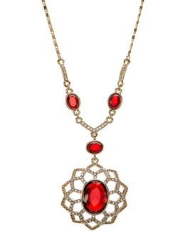 Pave Openwork Flower Pendant Necklace