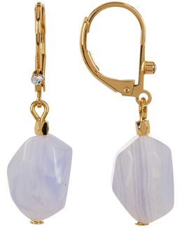 12k Gold Drop Stone Earrings