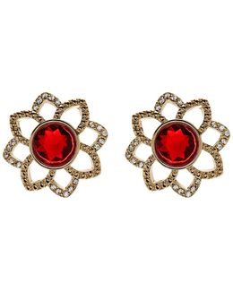 Openwork Flower Button Stud Earrings