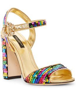 Sequin Heeled Sandal