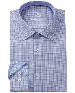 Woven Grid Trim Fit Dress Shirt