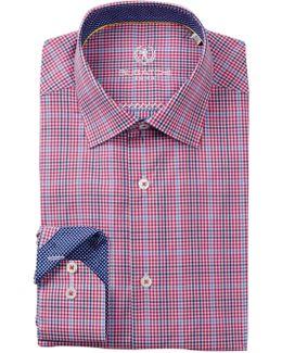 Woven Plaid Trim Fit Dress Shirt