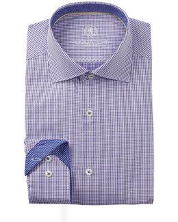 Woven Check Trim Fit Dress Shirt