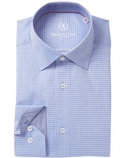 Trim Fit Grid Pattern Dress Shirt