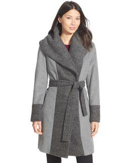 Boucle Trim Hooded Wrap Coat