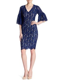 V-neck Elbow Sleeve Lace Dress