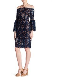 Off-the-shoulder Lace Knit Dress