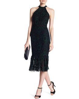 Halter Lace Knit Midi Dress