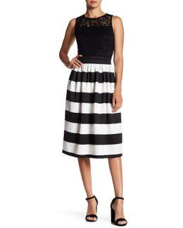 Lace & Striped Scuba Dress