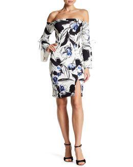 Off-the-shoulder Floral Print Sheath Dress