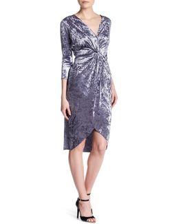 V-neck 3/4 Sleeve Velvet Dress