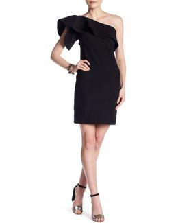 One Shoulder Ruffle Sleeve Dress