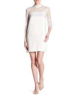 High Neck 3/4 Length Sleeve Lace Dress