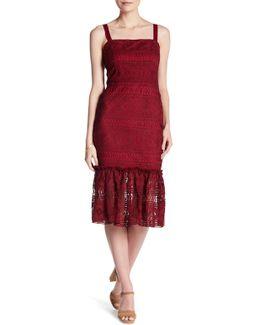 Shoulder Strap Tie Crochet Lace Knit Midi Dress