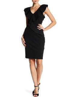 Asymmetric Ruffle Sheath Dress